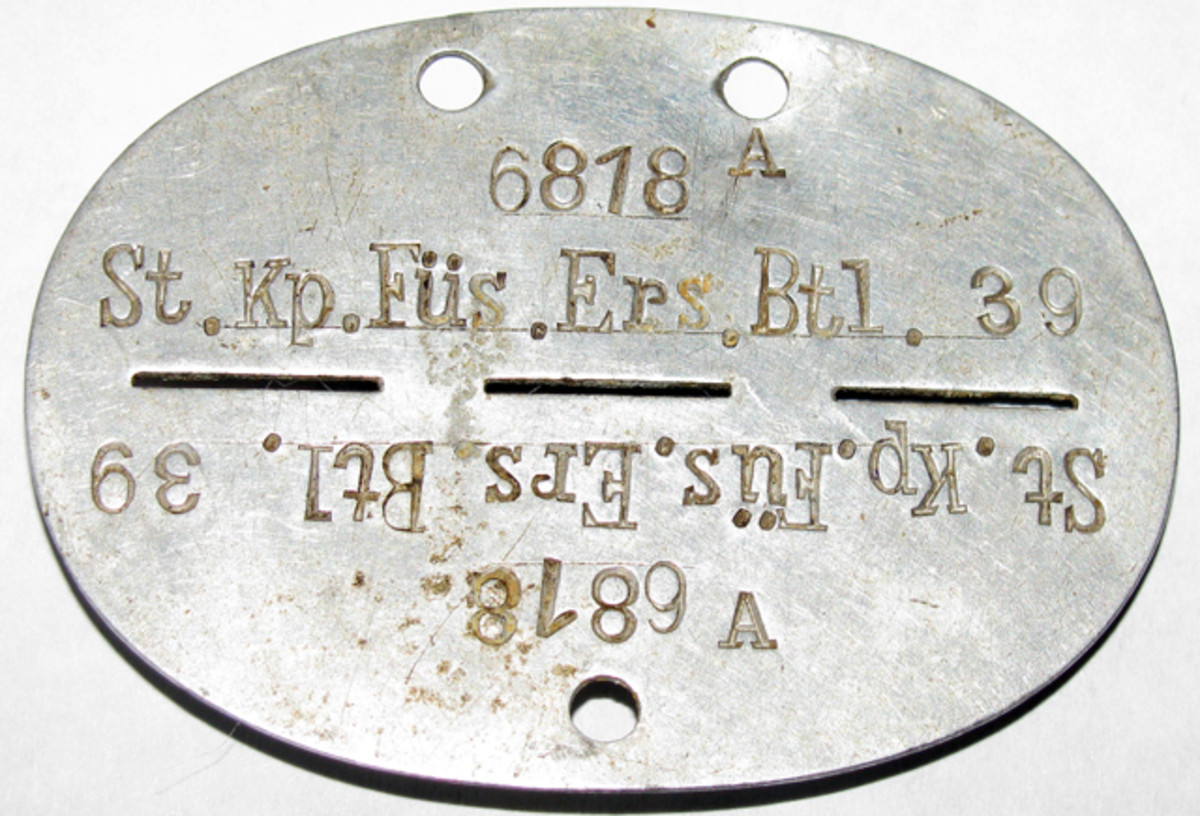Johann's identification tag from when he was assigned to Füsilier-Ersatz-Bataillon 39.