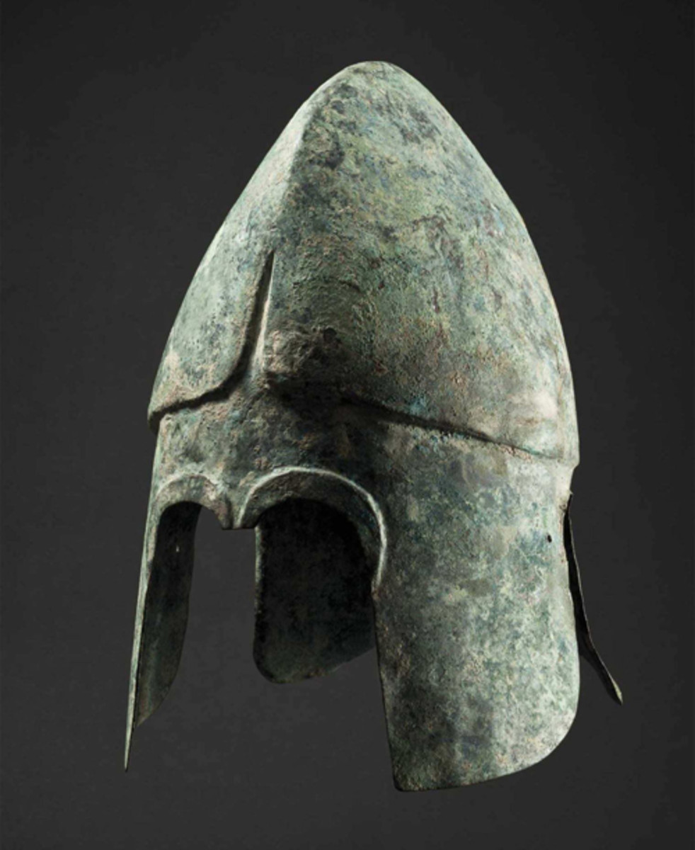 Chalcidian bronze helmet dating from the fourth century B.C.