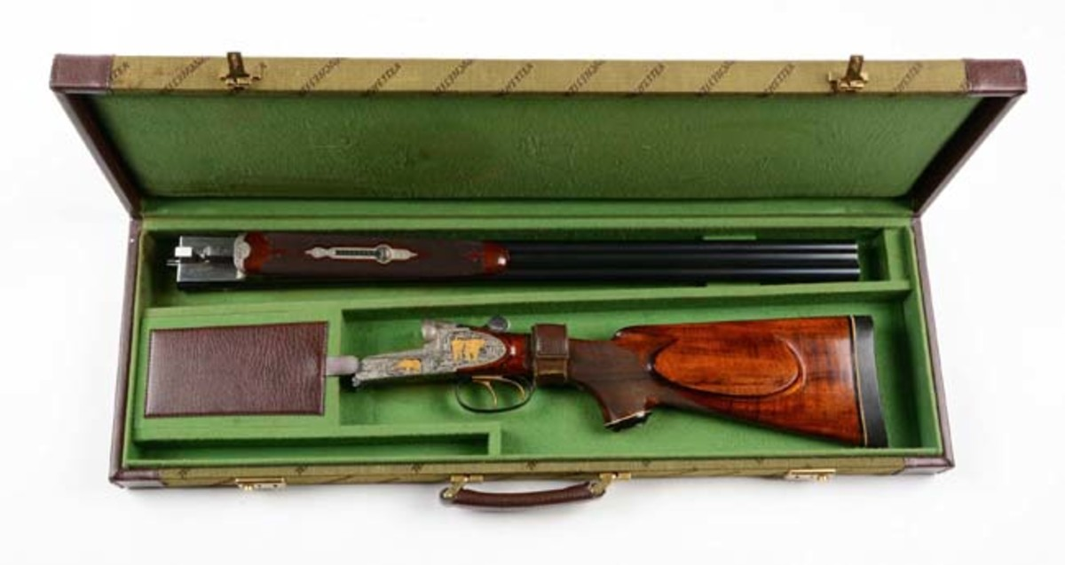 Cased Engraved and Inlaid Franz Sodia .458 Win Mag SxS Double Rifle