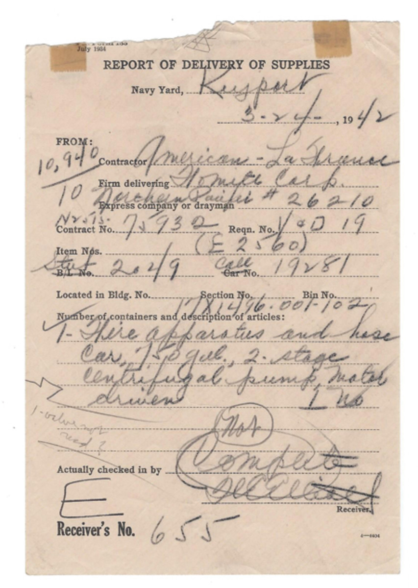 this truck when it arrived in Keyport on March 24, 1942 includes the weight (10,950 #) and railroad boxcar number. Not many ex-military trucks can be traced to the very date they were delivered from the builder! The corresponding bill of lading shows that it was loaded into the boxcar in Elmira, NY, on March 13, for an 11-day transit time via 4 railroads.