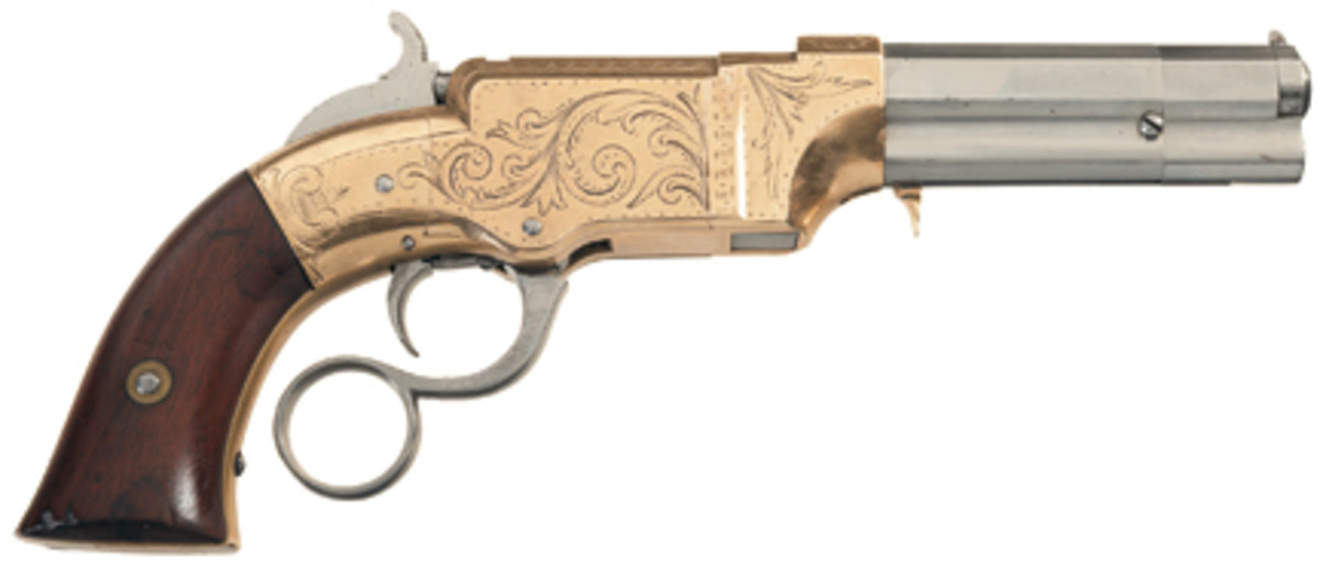 Lot #38 - Rare Factory Engraved Volcanic Lever Action No.1 Pocket Pistol