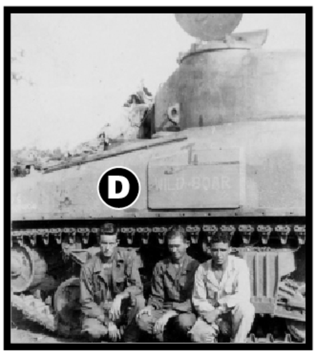 "According to research, tanks of this new delivery were equipped with armor plate protecting the driver from shots off the starboard and port sides of the tank. This raised area was used by tankers of the 754th to paint the tank moniker. Another example from the same group includes the ""Wild Boar."""