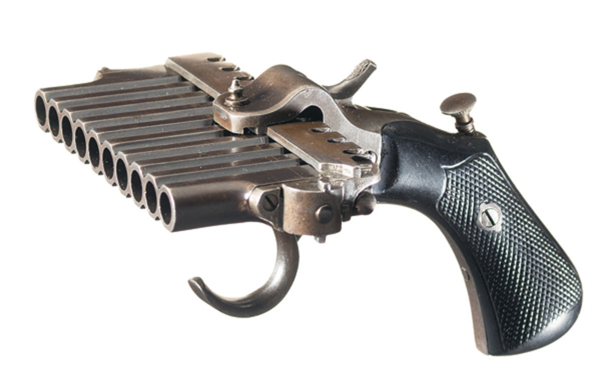This rare documented French Jarre Patent 10-Shot Double Action Pinfire Harmonica Pistol sold for $16,100.