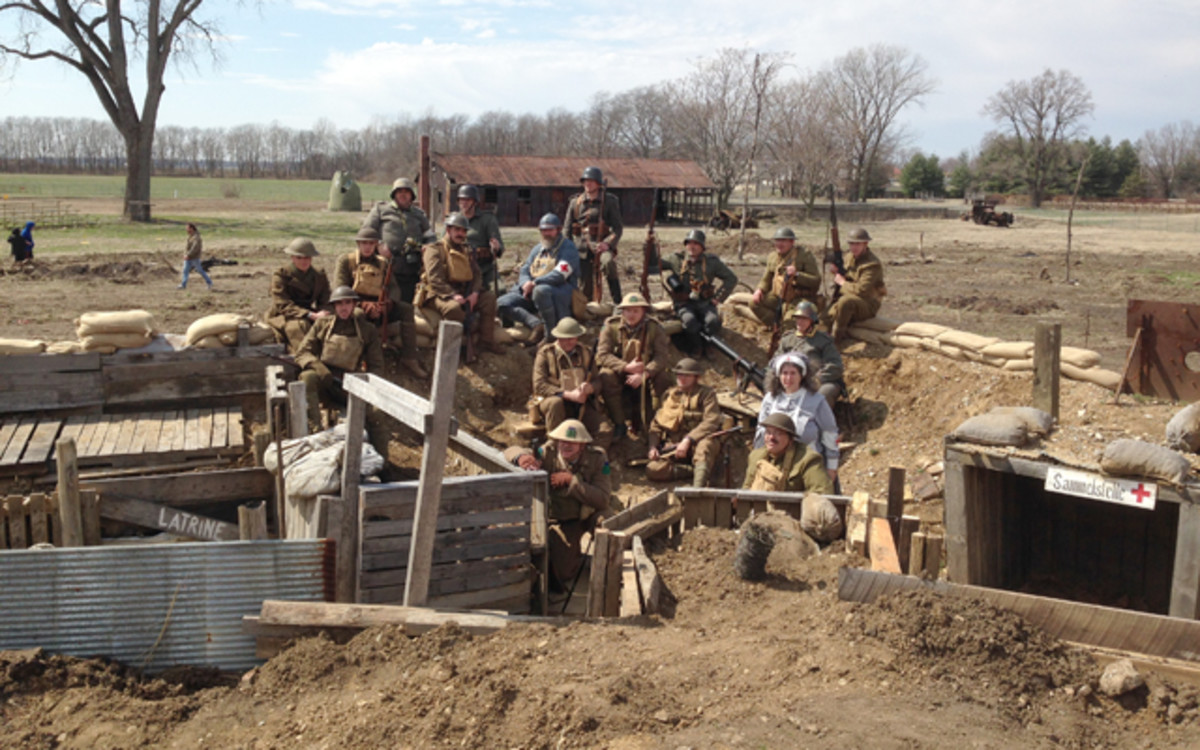 After the Battle: a portion of the reenactors pose in the trench.
