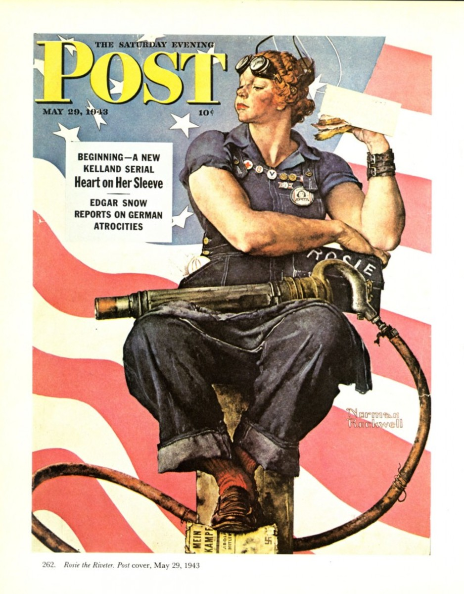 "Norman Rockwell painted ""Rosie the Riveter"" that was used on a 1943 cover of the Saturday Evening Post. Rockwell's subject featured a lunch box with the name ""Rosie"" painted on it."