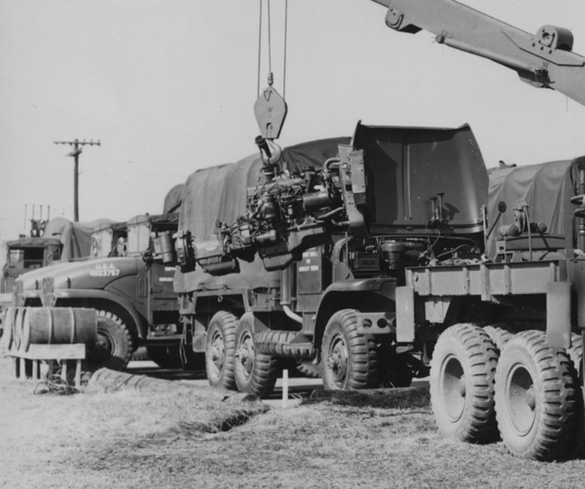 One of the military's specifications for M-series vehicles was an easily replaceable power unit, usually including radiator and transmission. Note the two-speed unit on the rear of what was basically a Cadillac automatic transmission on the GMC 302 engine.