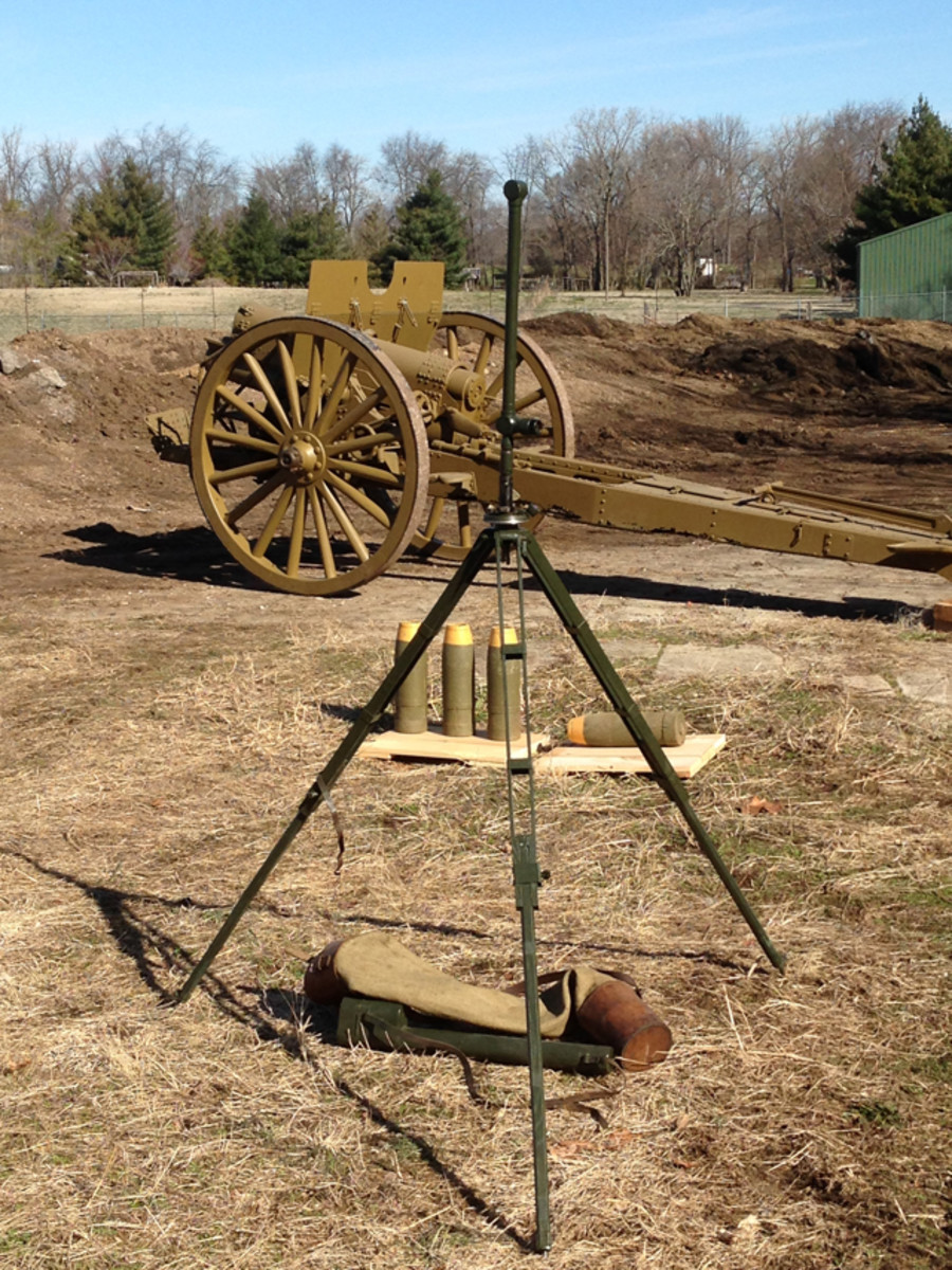 Artillery Display: Large caliber Allied howitzer with gas shells and tripod mounted scope.