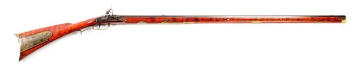 Carved Bucks County Flintlock Rifle Attributed to John Shuler