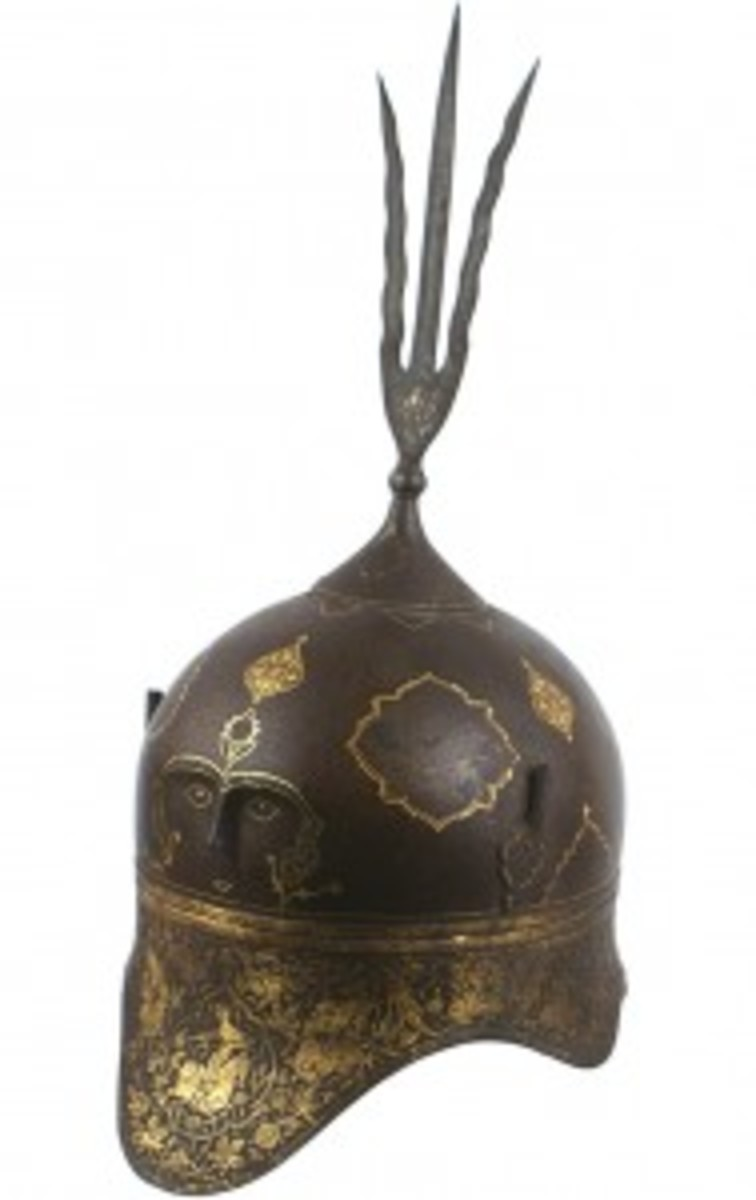 Unusual 18th /19th century Indo-Persian helmet, shaped in the form of the khula khud ($3,335)