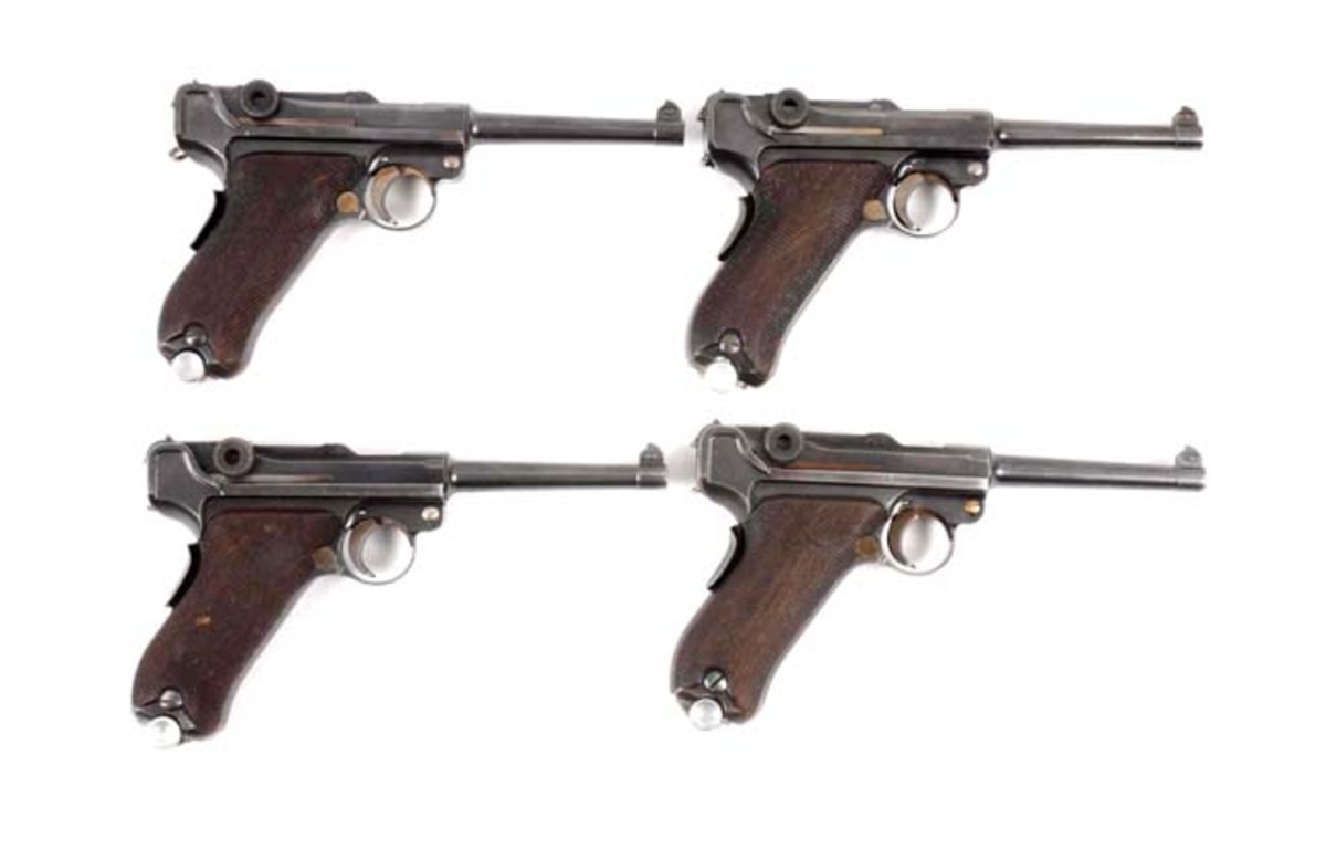 Lot of 4 Consecutive Portuguese Lugers w/ Accessories