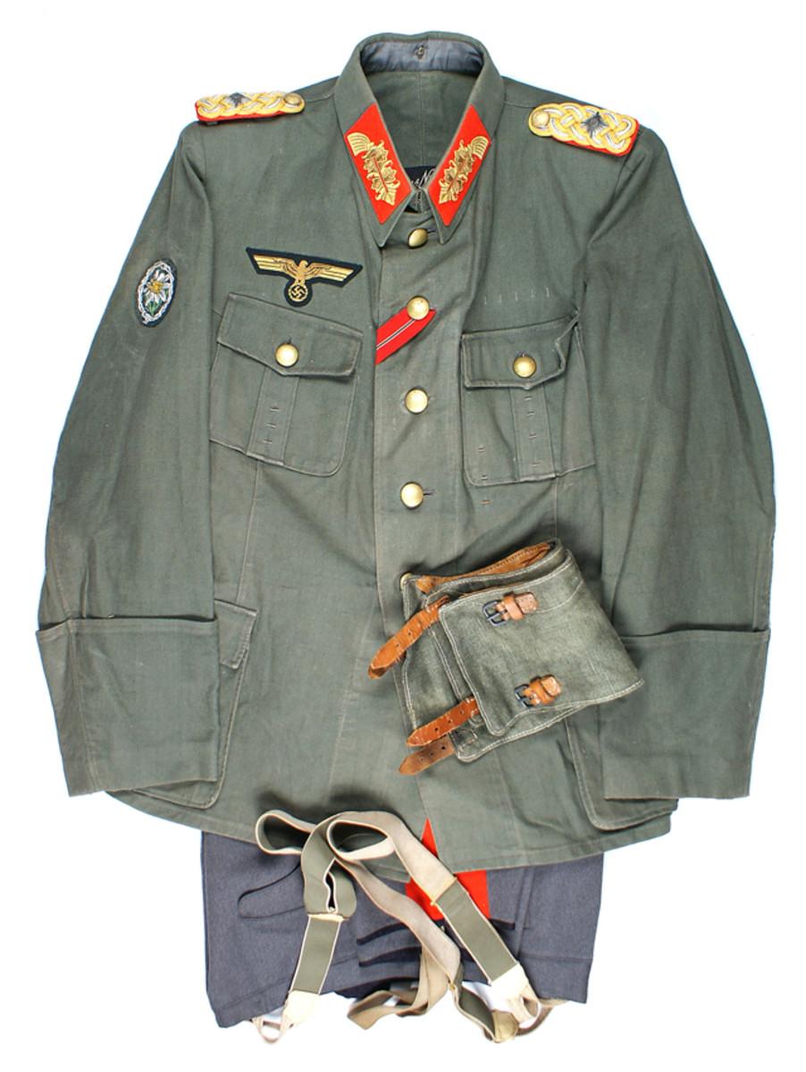 Outstanding German World War II Army mountain troops' Lieutenant General's uniform (MB: $7,800).
