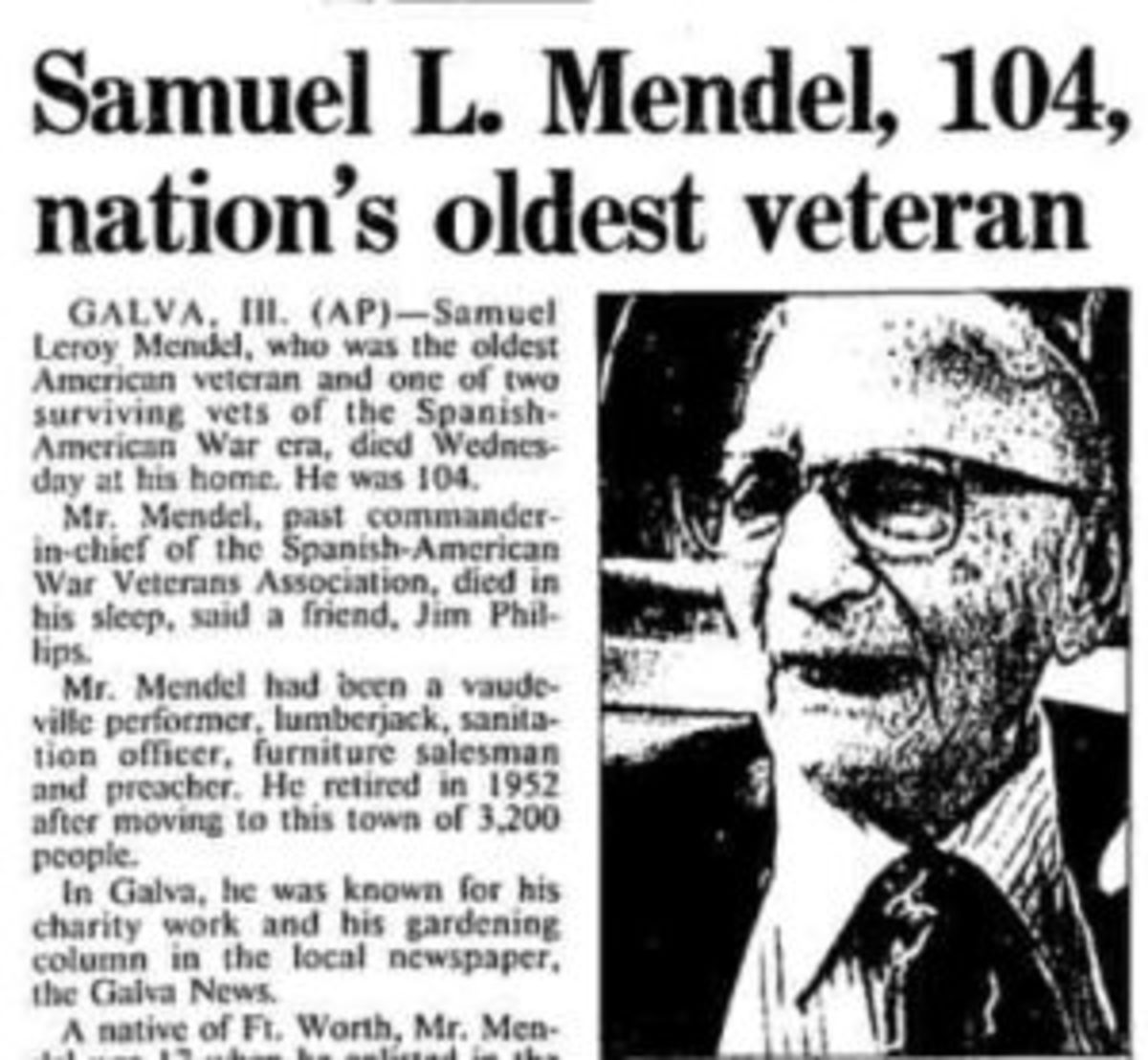 Just a clipping is all I have to remind me of Sam Mendel, one of the last two surviving Spanish-American.