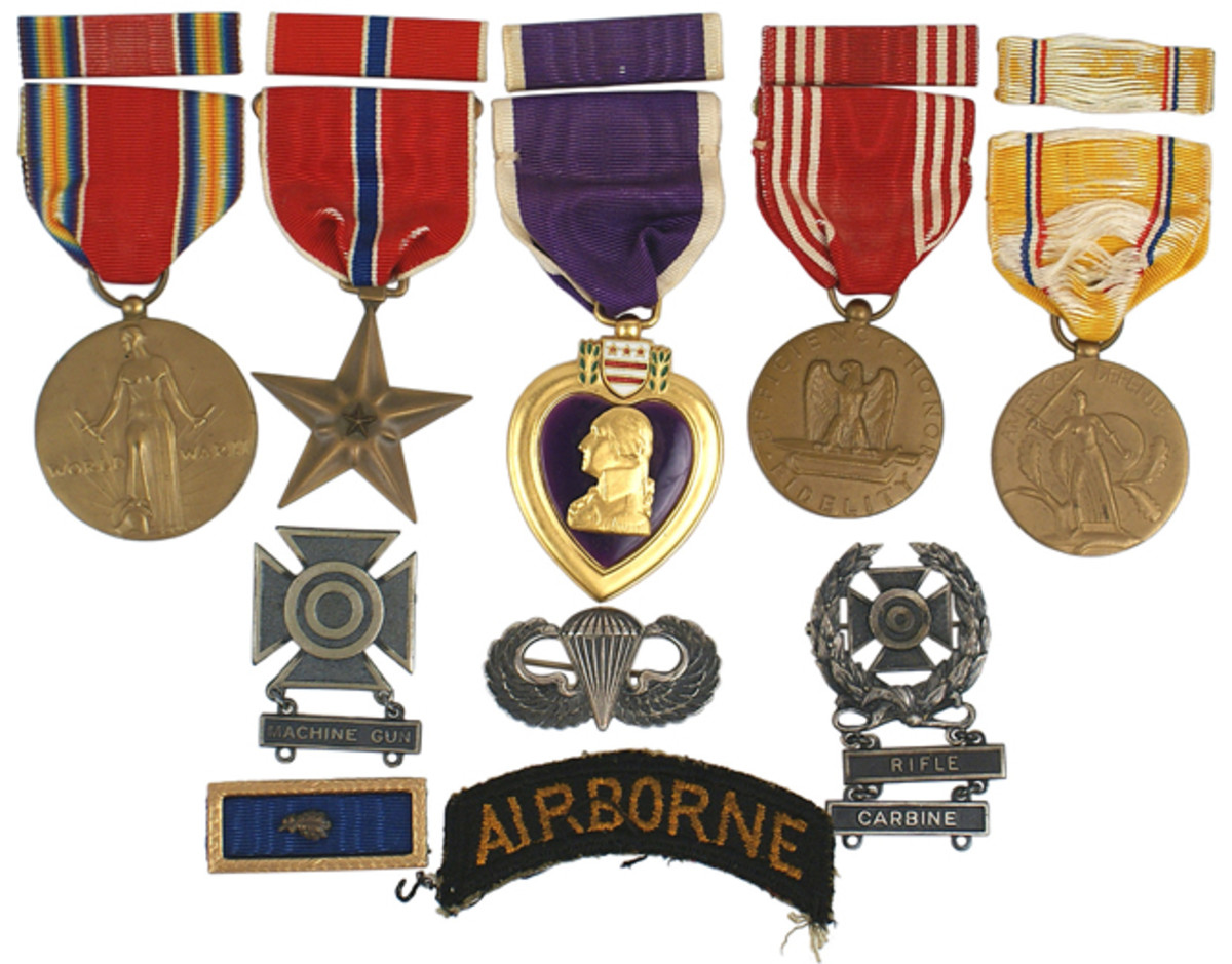 Lot of medals awarded to Sgt. Daniel S. Steinbach, killed in action at Normandy ($2,875).