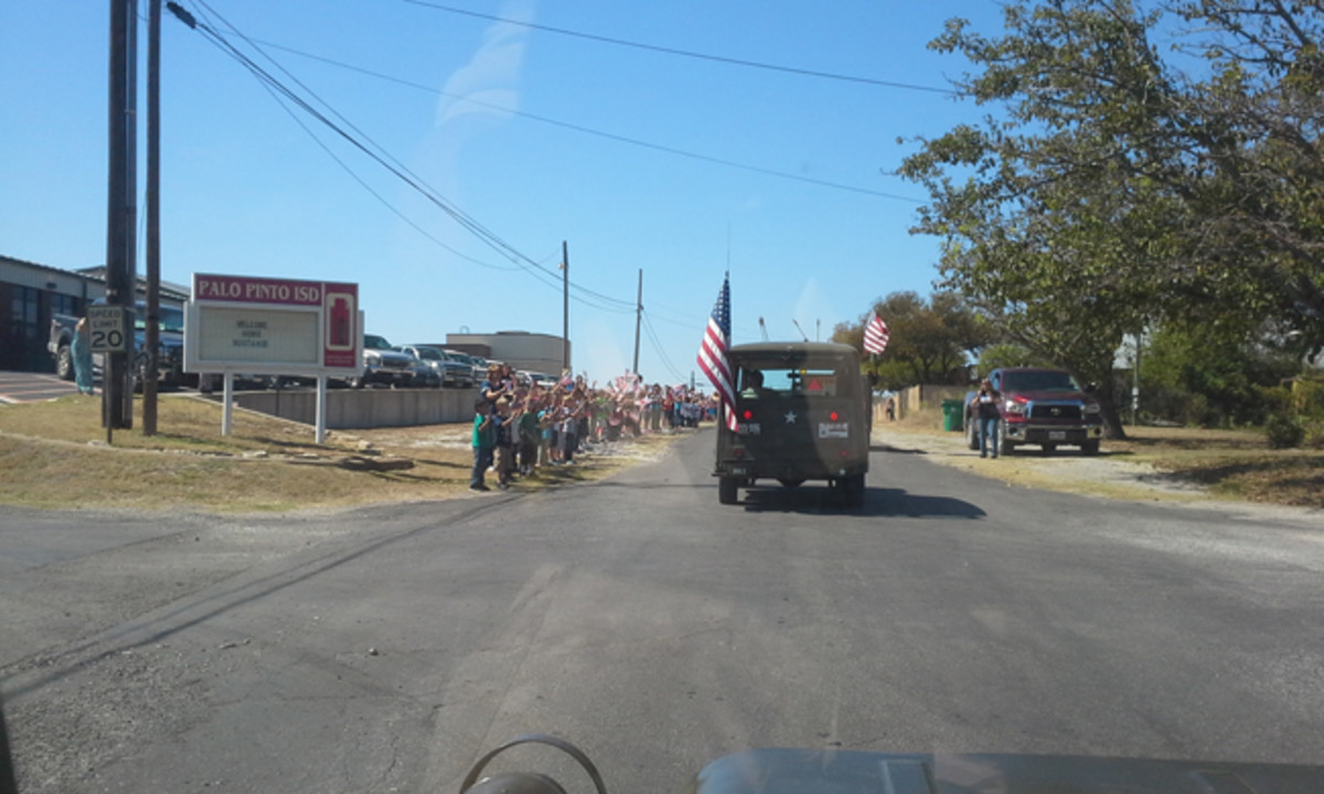 Typical view across the country. Schools let out to wave at us as we passed by. This was in Palo Pinto, Texas.