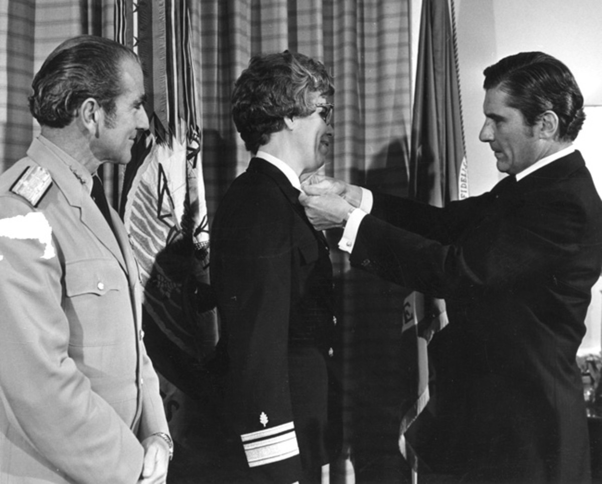 "Newly promoted admiral, Alene Duerk at her promotion ceremony with Chief of Naval Operations Adm. Elmo ""Bud"" Zumwalt and Secretary of the Navy John Warner. (Released/U.S. Navy photo from BUMED Archives)"