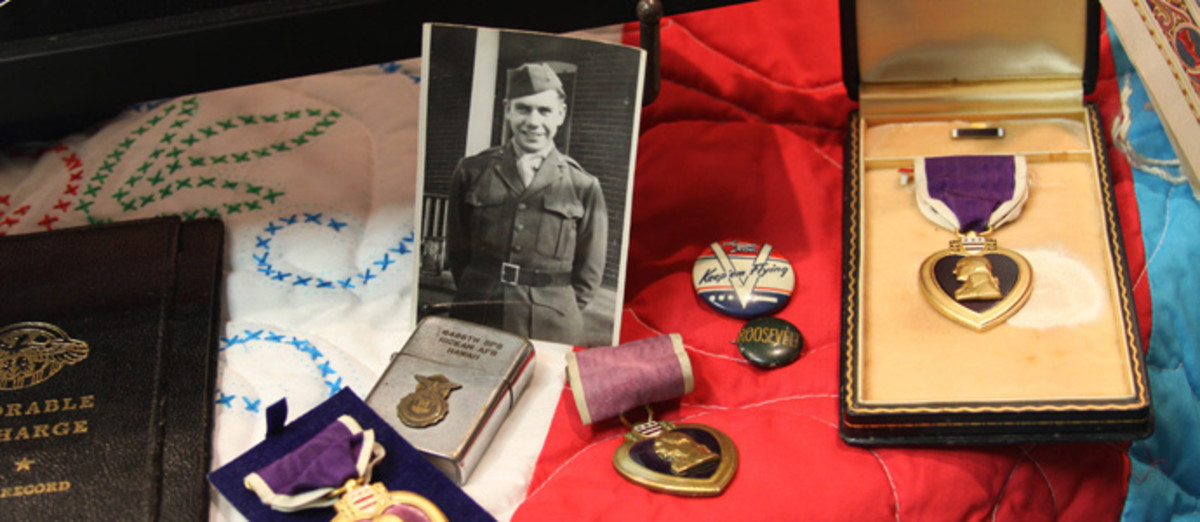 Display of Purple Hearts in the Missouri Unclaimed Property vault.