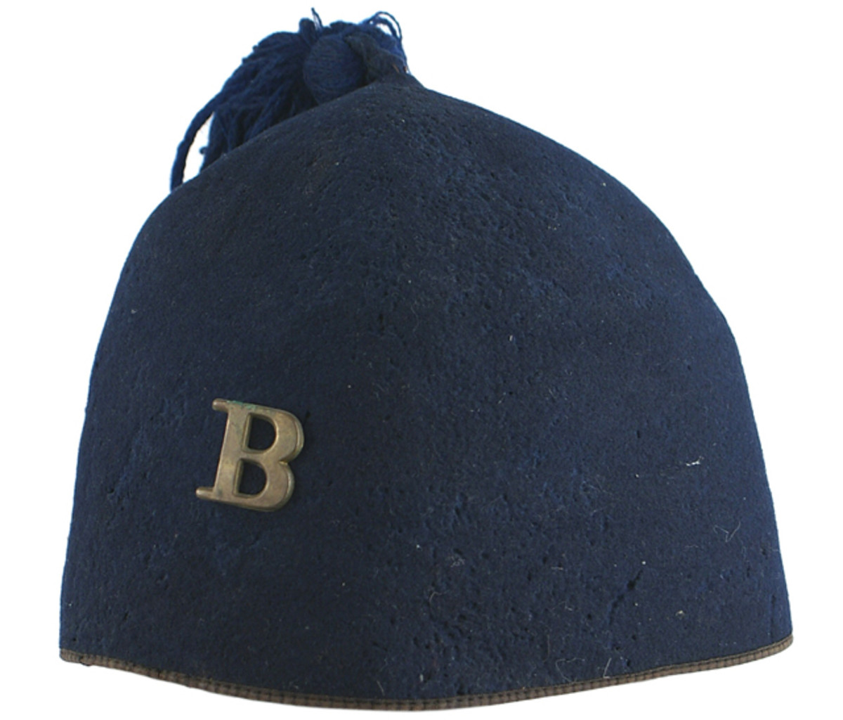 Very rare Civil War blue felt fez hat worn by a member of the 11th New York Fire Zouaves (MB: $5,000).
