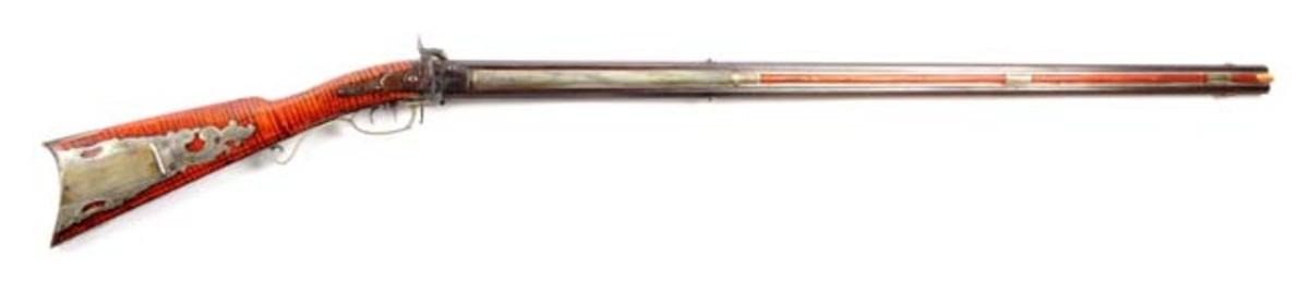 Silver Mounted Percussion O/U Swivel Breech Rifle by Gibbs