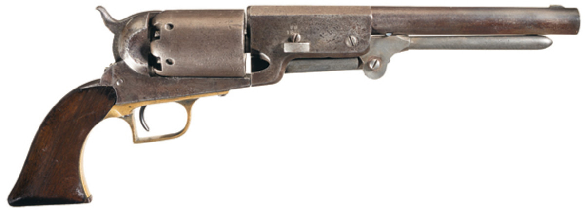 """The """"C Company"""" Colt Walker in lot 1164, from Walker's own Company and with a rich history of extensive use by other military units, sold to the tune of $161,000."""
