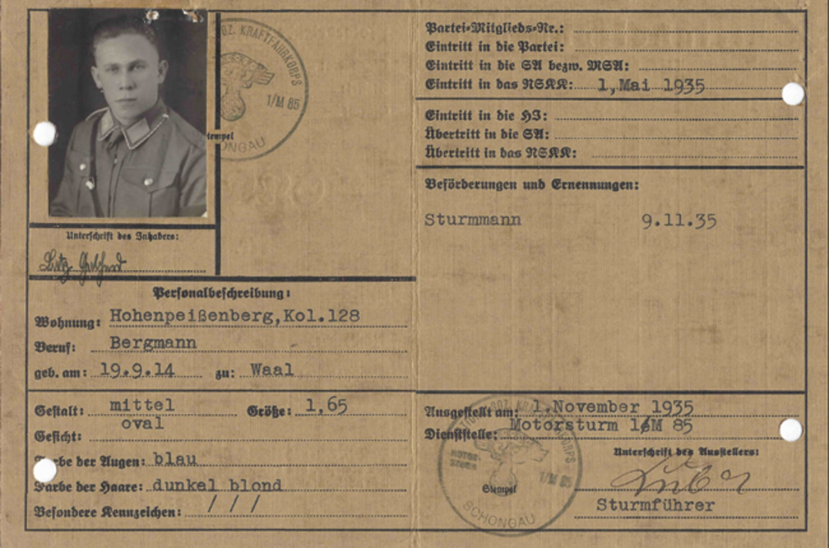 Card issued to 20-year old mine-worker (Bergmann) Gebhard Lutz who lived in Hohenpeißenberg in the Schongau District (Kreis). He joined the NSKK on 1 May 1935, as a Mann (Private) and was later promoted to Sturmmann (Private First Class).