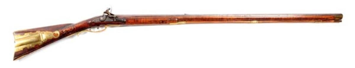 Relief Carved Flintlock Rifle Signed Nicholas Beyer