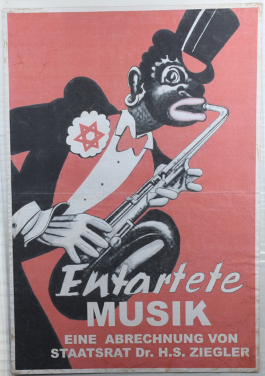 "1938 World War II anti-Semitic poster criticizing ""Degenerate Music"" with image of black saxophonist wearing Star of David on lapel. Sold for $7,500"