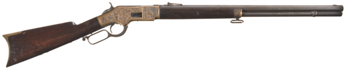 Lot 3003: Desirable Ulrich Engraved Factory Documented Winchester Model 1866 Lever Action Rifle with Factory Letter. Estimated Price: $20,000-$30,000