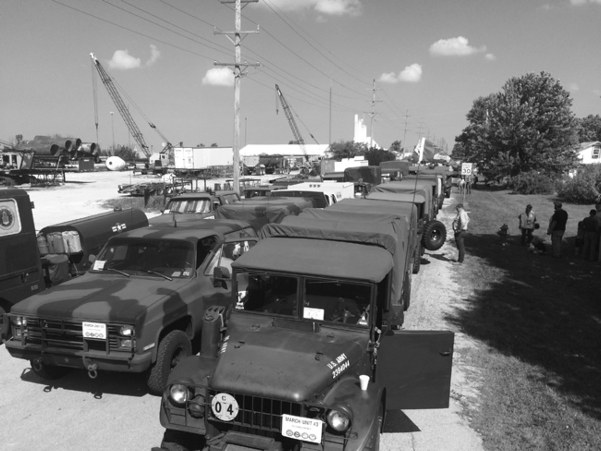 The convoy was organized into special march units: Headquarter vehicles, heavy trucks 2-1/2-ton or larger, 1-ton vehicles, 3/4-ton vehicles, and finally, 1/4-ton jeeps and similar vehicles. We all kept in our specific order — all the time.