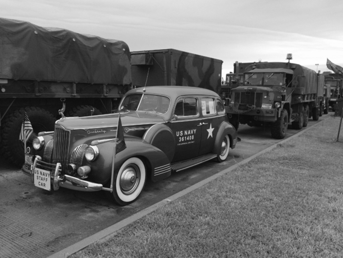 The oldest vehicle to make the full trip: Rodger Hershberger's 1941 Packard staff car.