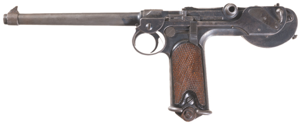 Lot 5311: Ludwig Loewe Model 1893 Borchardt Semi-Automatic Pistol with Three-Digit Serial Number. Estimated Price: $4,000-$7,000
