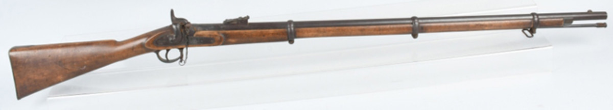 All-original 1862 Enfield P53 .577 3-band Civil War rifle, identified as property of Ransom Tifft of 18th Massachusetts Infantry, thence by descent. Sold for $6,300 against estimate of $1,200-$1,500