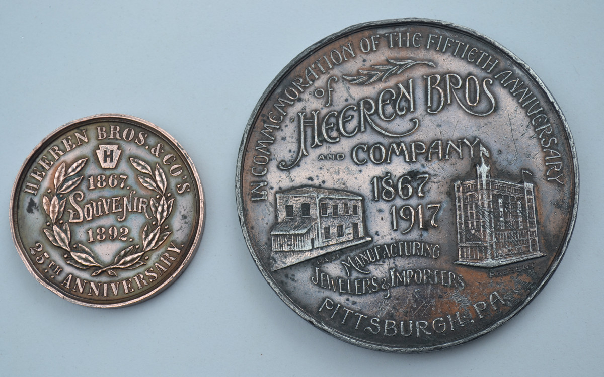 Heeren Brothers Company had a rich history of making medals. These are examples of its own 25th and 50th Anniversary medals.