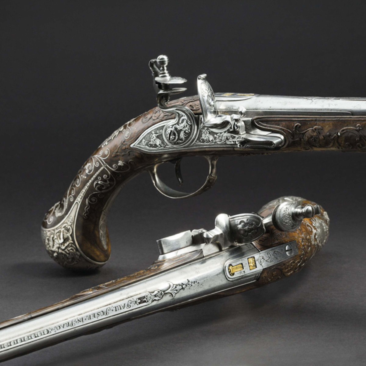 Pair of significant de luxe flintlock pistols, armory of the Princes von Lobkowitz.