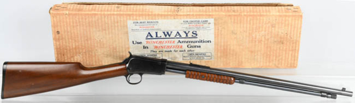 Winchester.22-caliber pump Model 1906, with original box and packaging, retired at $3,720