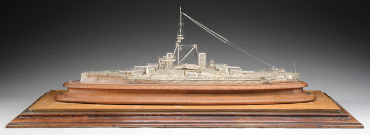 "Scale Model of the British-Built Brazilian Battleship ""Minas Gereas"" from the Ray Bentley Collection"