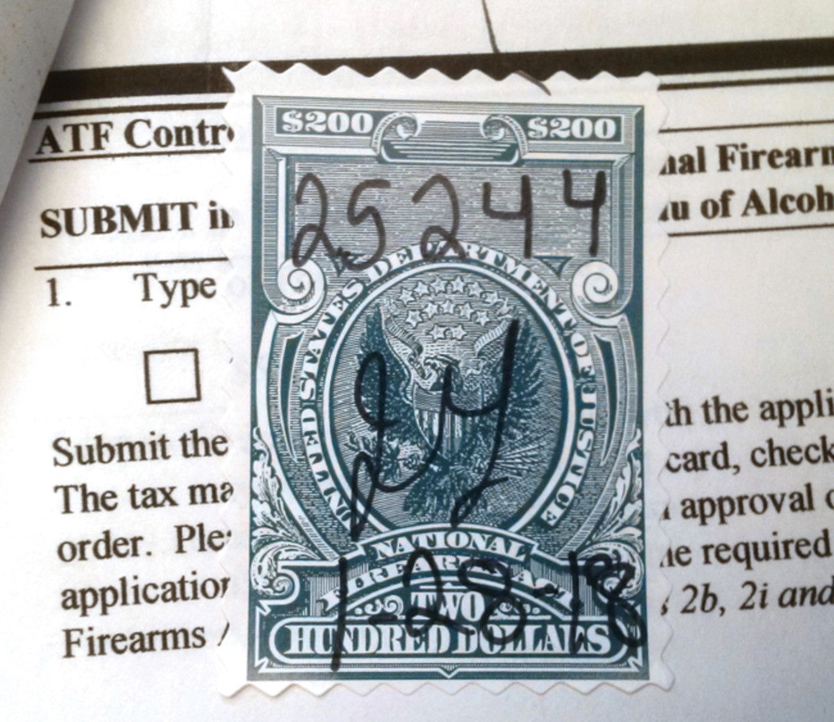 After your paperwork has been approved, this is what makes your machine gun legal to own — the Transfer Stamp.