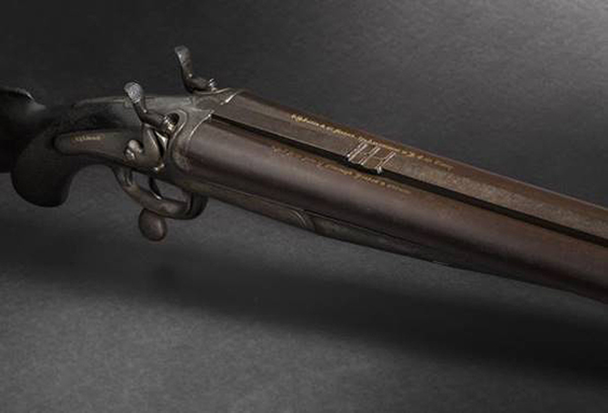Produced circa 1885, a R.B. Rodda & Co top-hammer double rifle boasts inscription inlaid in gold on both barrels