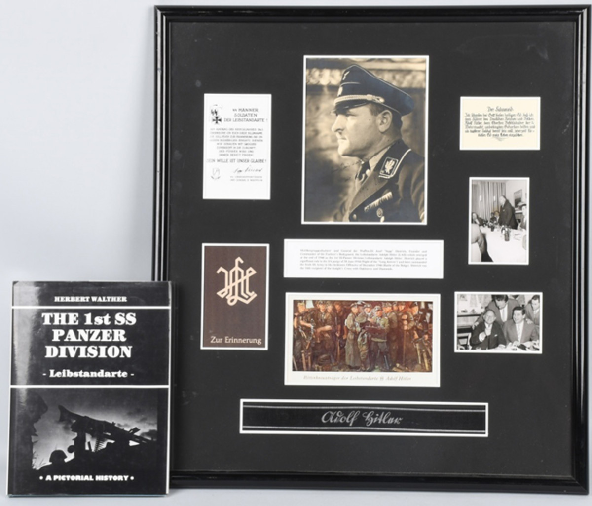 """https://www.liveauctioneers.com/item/61938243_wwii-nazi-german-sepp-dietrich-autographed-photoWWII Nazi German framed archive with photos, autograph of Josef """"Sepp"""" Dietrich, Hitler's bodyguard and Panzer division commander. Photo - Milestone Auctions"""