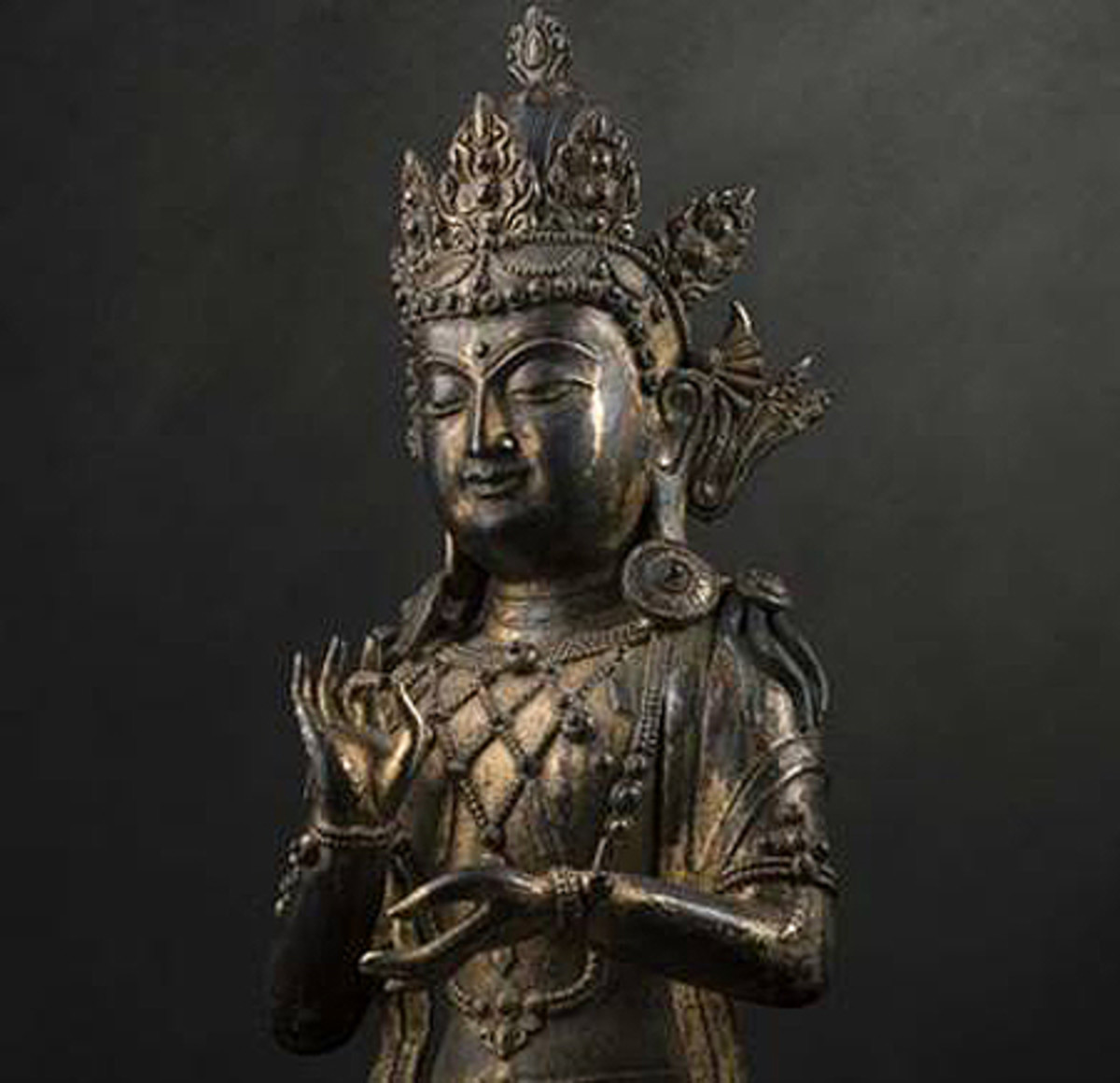 A statue of the bodhisattva Guanyin from the Ming dynasty, 58 centimetres tall.