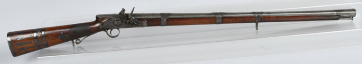 https://www.liveauctioneers.com/item/61937852_george-iii-parker-silver-mounted-flintlock-rifleOrnate early 19th-century silver-mounted presentation flintlock musket made by W. Parker, gun make to H.M. King George III. Photo - Milestone Auctions