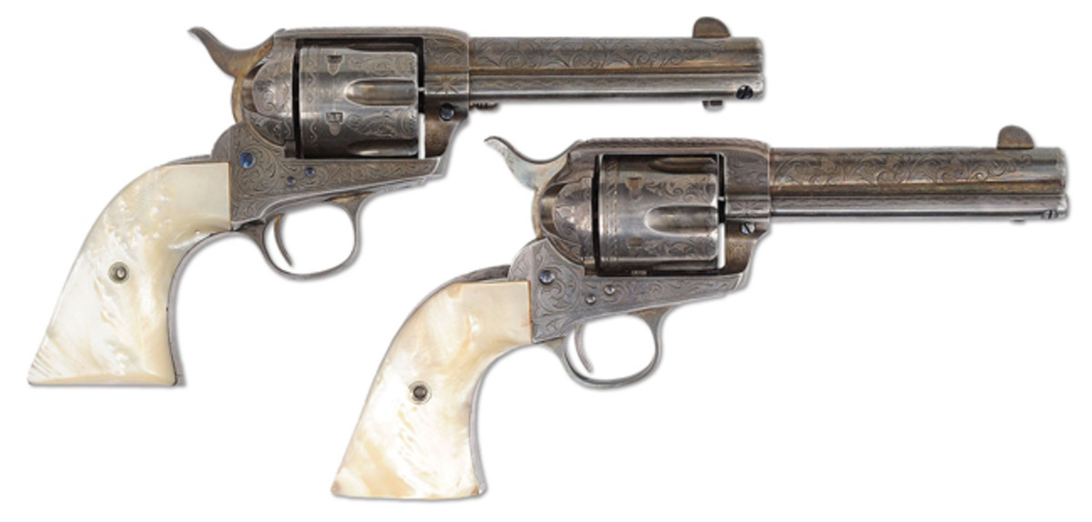 Pair of Engraved & Inscribed Silver Plated Colt Single Action Arm Revolvers
