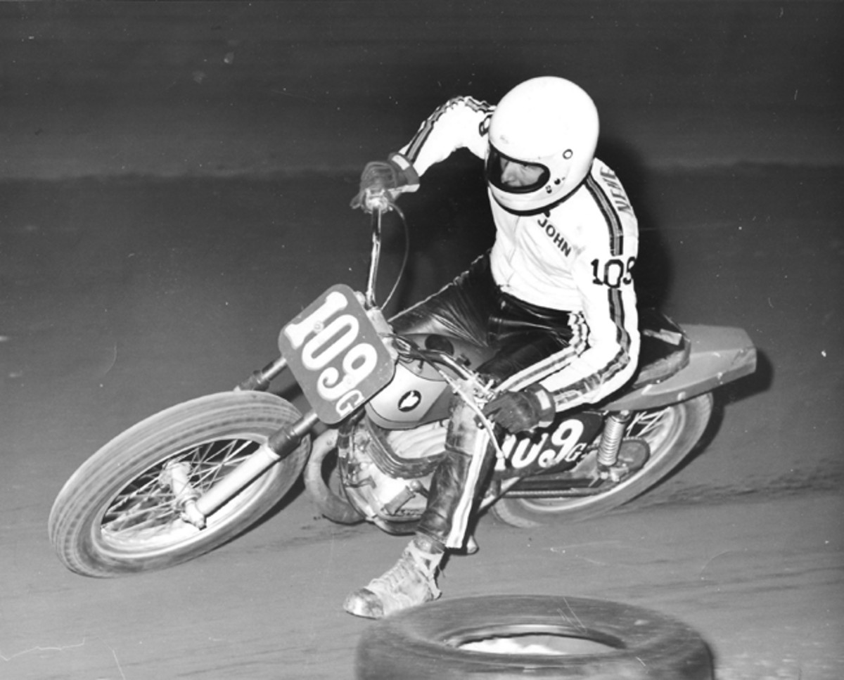 Motorcycle trail riding, enduros, motocross, and flat track racing were John's main hobbies from age 16 to about 23. From 1972-1974 he rode this Schwerma-framed Bultaco 250 and a BSA 500. John achieved Expert status in flat track racing as an amateur but never turned professional. Photo by Bill Spencer
