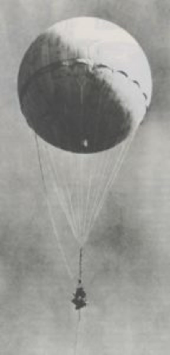 A Japanese fire ballon that had been shot-down was re-inflated by Americans in California.