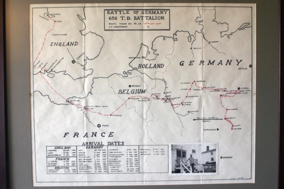 I framed the map of the 656th Tank destroyer battalion's run through Germany and several of his pictures and they hang prominently in my dining room.