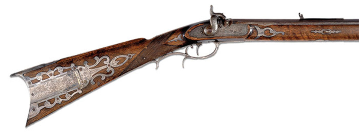 Historic Silver Mounted Hawkens Rifle of George W. Atchison