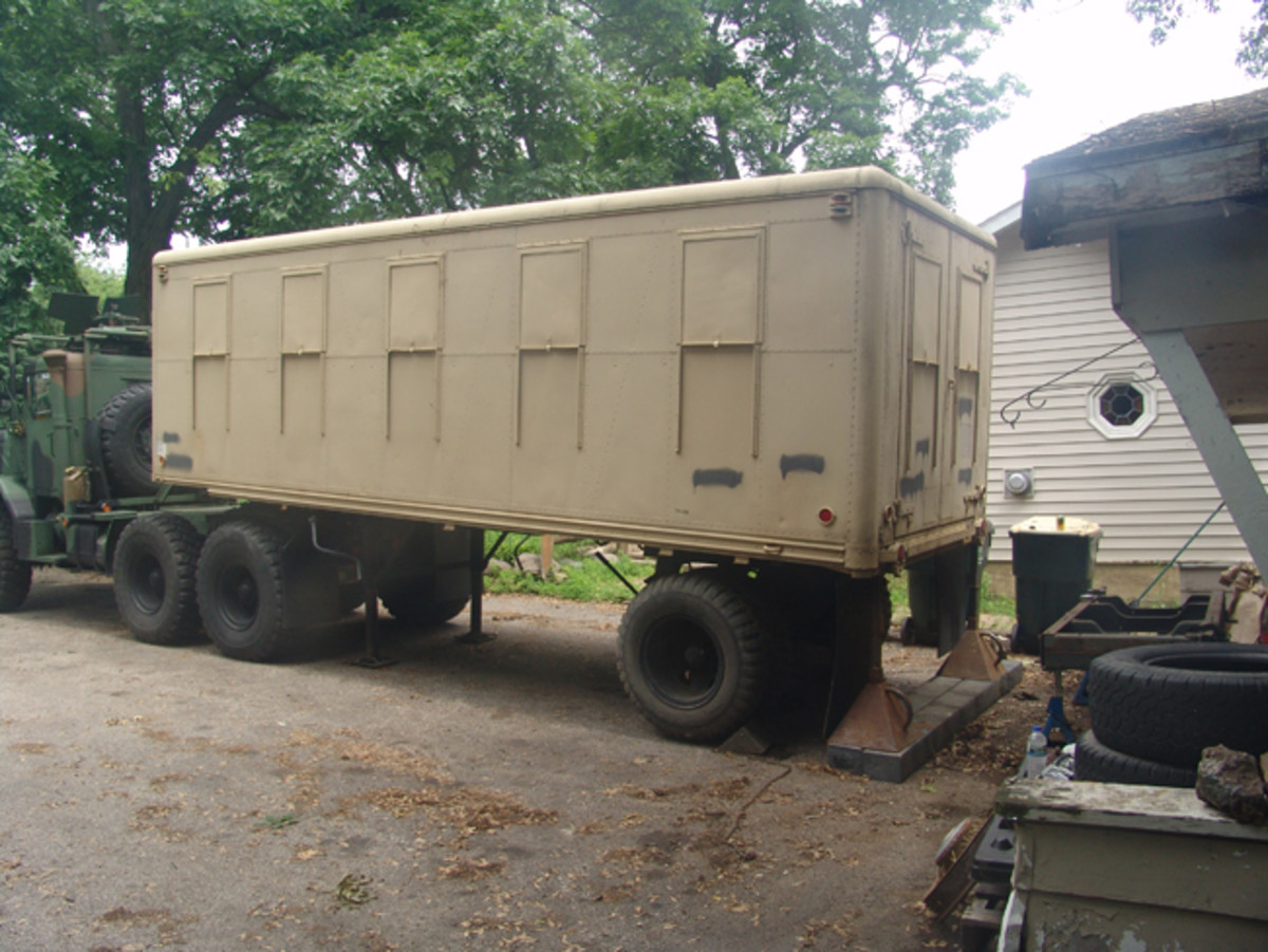 What's a tractor with a trailer? Chuck located a really clean M146 trailer that looked like it would serve the part quite well.