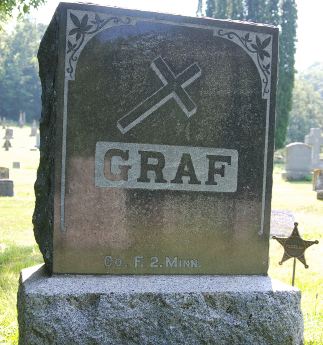 Since I was a boy, Bernhardt Graf's tombstone has been replaced with this more modern representation. The family did remember his service in the 2nd Minnesota when they had it engraved.Since I was a boy, Bernhardt Graf's tombstone has been replaced with this more modern representation. The family did remember his service in the 2nd Minnesota when they had it engraved.