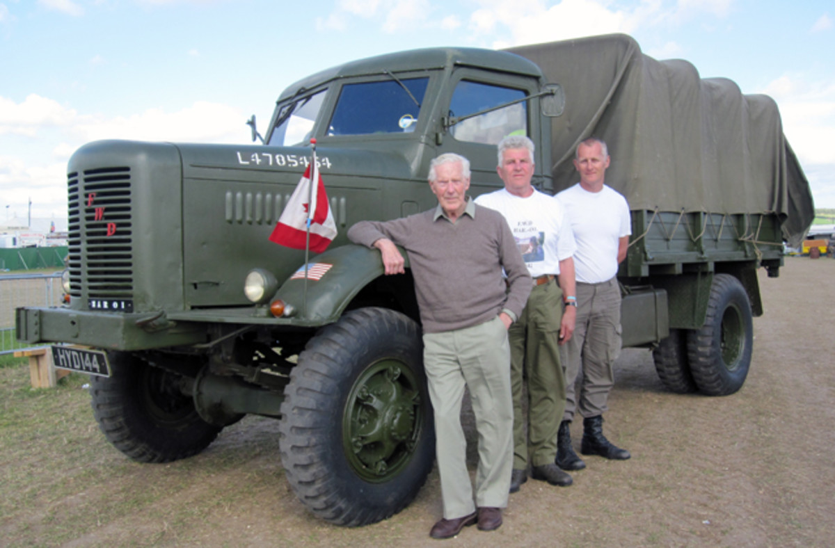 Owner Roger Staddon (left), good friend Derek Tucker and his son Paul (right) are very proud to be able to display this HAR-01in what would have been its livery during its time with the armed forces.