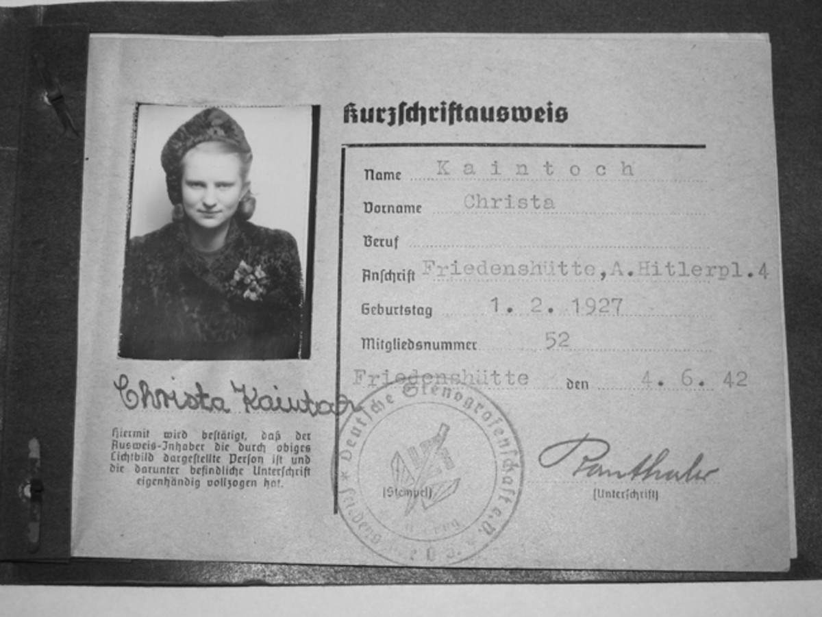 Formed in 1875, the Deutsches Stenographenschaft (German Stenographers' Union) would become the unwitting recording agent of the Nazi Regimen. The Christa Kaintoch was only 15 years old when she joined the Stenographers' Union in 1942.