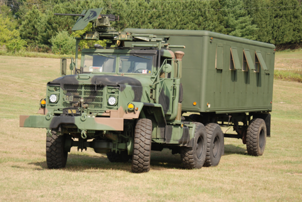 Finally, in August 2014, the tractor-trailer combo was ready for its debut. Chuck drove it north to the Annual Iola Military Vehicle Show, turning heads as he drove it there and after he arrived. It was a hit of the show as other historic military vehicle enthusiasts quizzed Chuck on his modifications and adaptations. Next on Chuck's list? A HMMWV.